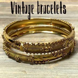 Gold Tone etched vintage bangle bracelets bundle